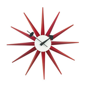 Vitra - Sunburst Clock, red